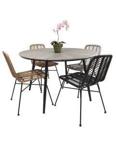 Alberta pöytä + 4 Mikado tuolia, eri värejä