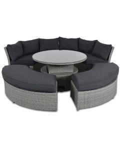 Pyöreä terassisohva ja pöytä