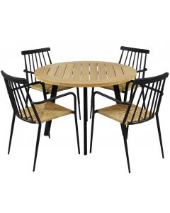 Pyöreä pöytä ja mustat tuolit ulos