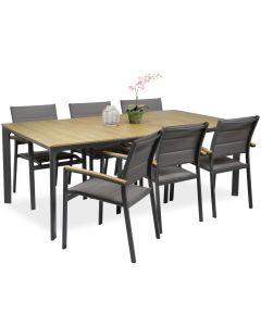 West ruokaryhmä Tango-tuoleilla kuudelle, 200x90cm